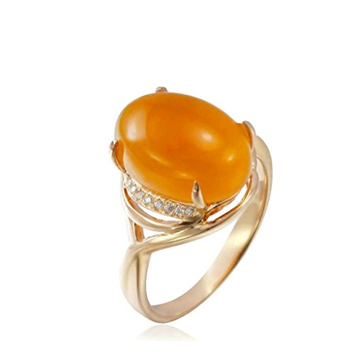 Daesar Sterling Silver Rings Wedding Bands for Women Egg Yellow Chalcedony Rose Gold Size 6