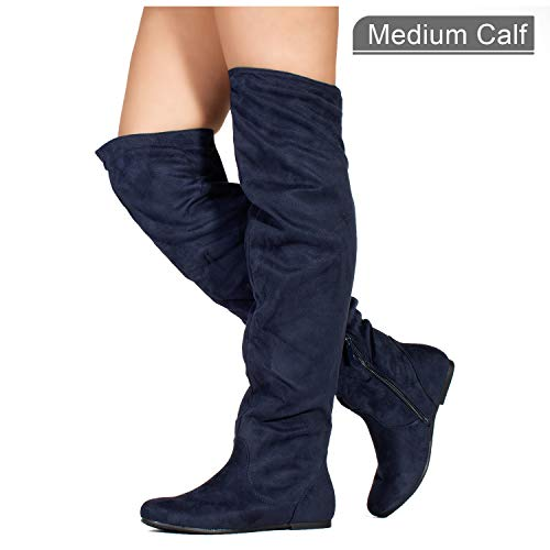 Leather Heels Navy High (RF ROOM OF FASHION Stretchy Over The Knee Slouchy Boots (Medium Calf) Navy (10))