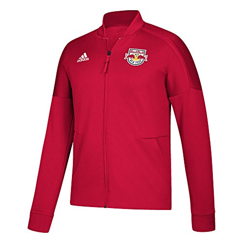 adidas MLS New York Red Bulls Men's ZNE Anthem Jacket, Large, Blood Red