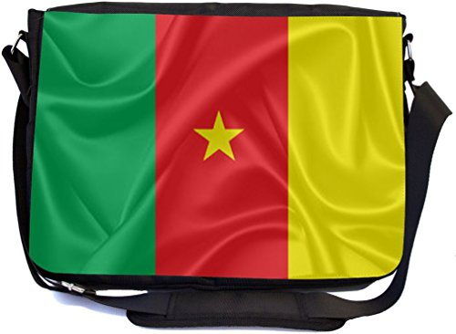 Rikki Knight Cameroon Flag Design Combo Multifunction Messenger Laptop Bag - with Padded Insert for School or Work - Includes Wristlet & Mirror by Rikki Knight