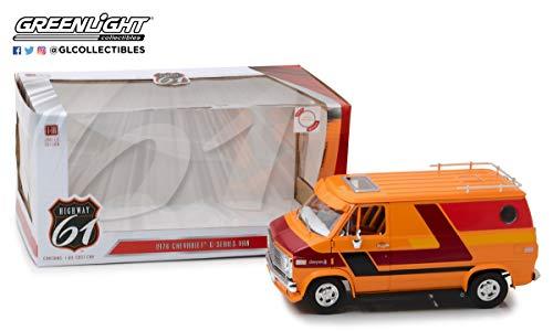 18 Highway 61 Diecast Model - Greenlight Hwy-18012 1: 18 Highway 61-1: 18 1976 Chevy G-Series Van - Orange with Custom Graphics