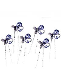 Crystal Hair Pins Flower Bridal Wedding Hair Accessory Butterfly style (Set of 6)