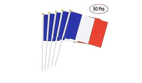 Banderas de Mano Paises Francia, Mini Banderas pequeñas de 14 x 21cm 50 Piezas: Amazon.es: Deportes y aire libre