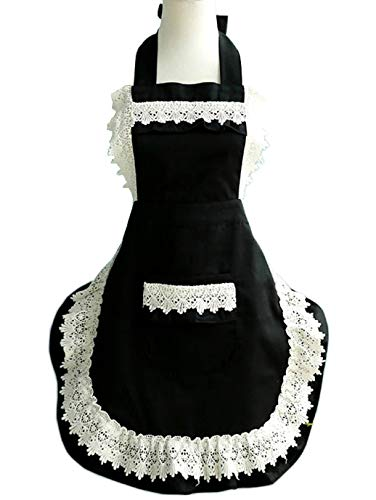 Lovely Lace Work Adjustable Apron Home Shop Kitchen Cooking Women Ladies Aprons with Pocket for Christmas Gift,black