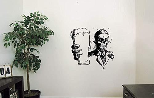 Skeleton Vinyl Wall Decals Bones Costume A Glass of Beer Halloween Horror Decal Sticker Vinyl Murals Decors IL0300
