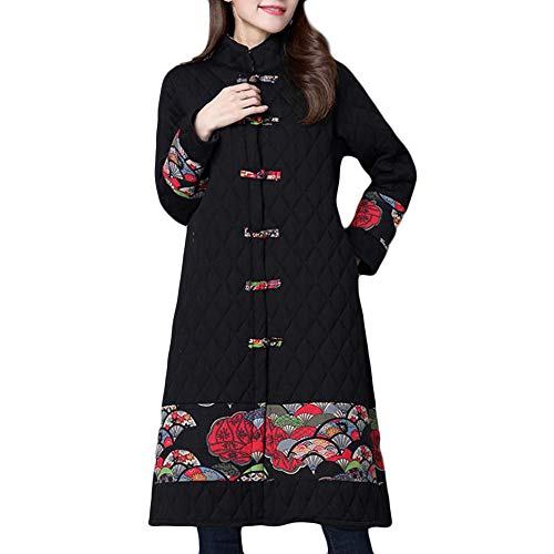 - Sunhusing Winter Women Folk-Custom Embroidery Print Chinese-Knot Cotton-Padded Long Parka Overcoat