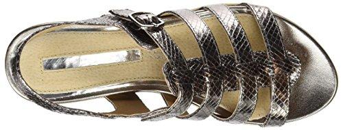 MARIA MARE Nerina, Sandalias Gladiator para Mujer Plateado (Serpiente Metal 2 Humo)