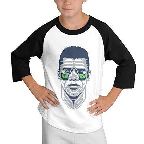 Teens Baseball Jersey Russell- Wilson-3 3/4 Sleeve Raglan Baseball T-Shirt Black