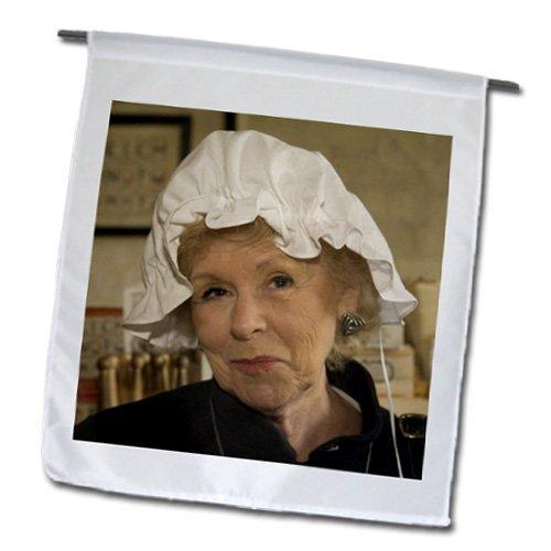 3dRose fl_95084_1 Woman in Hair Bonnet, Williamsburg, Virginia-US47 JME0103-John and Lisa Merrill Garden Flag, 12 by 18-Inch