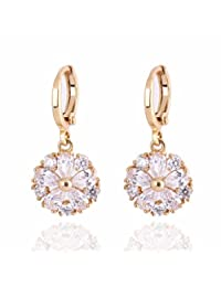 Yazilind Charming Flower Design 14K Gold Filled Inlay Clear Cubic Zirconia Dangle Drop Earrings for Women