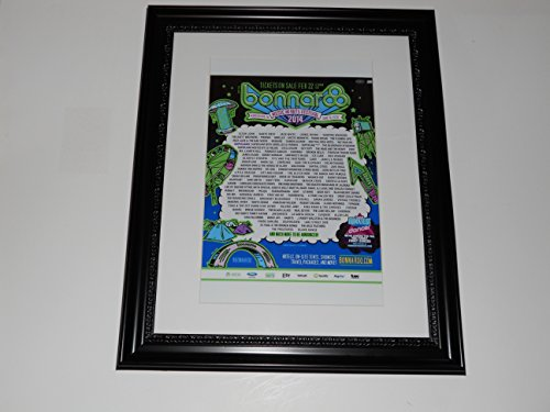 "Large Framed Bonnaroo 2014 Poster All Bands Listed Kanye, Jack White 24"" by 20"""