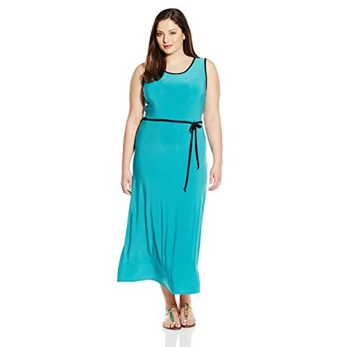 84bf8c5e131 Star Vixen Women s Plus-Size Sleeveless Round Neck Maxi Dress with Color  Piping 80%