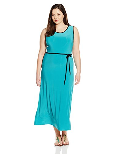 Star Vixen Women's Plus-Size Sleeveless Maxi Skater Dress with Contrast Piping and Tie Belt, Jade/Black, 3X