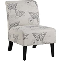 Chair Living Room / Accent Chair in Traditional Style Fabric Bradford with Butterfly Print - Assembly Required OSLN1288/ 21.5 in Wide x 29.5 in Deep x 31.5 in High