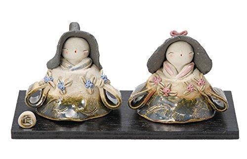 雛人形 コンパクト 陶器 小さい 可愛い ひな人形/伊藤仁作 織部美春雛 (大) /ミニチュア 初節句 お雛様 おひな様 雛飾り   B01AT3IK54