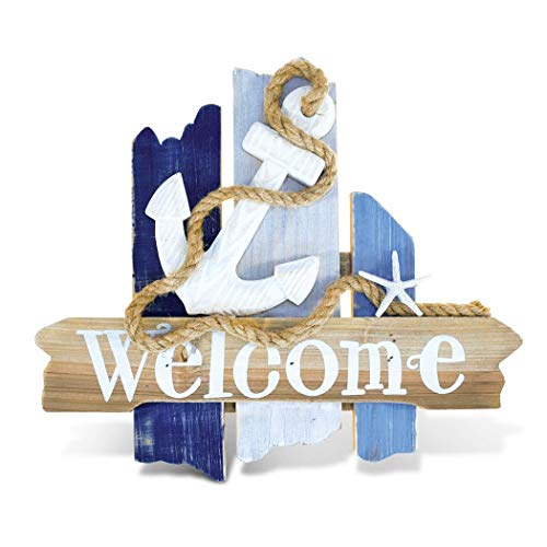 LL One Piece White Blue Indoor Outdoor Anchor Welcome Sign, Nautical Themed Wall Art, Beach Cottage Decor Ocean Lake House Starfish Rustic Shabby Chic Home Accent Rope Antique Garden Patio, Wood (Beach Nautical Decor Cottage)