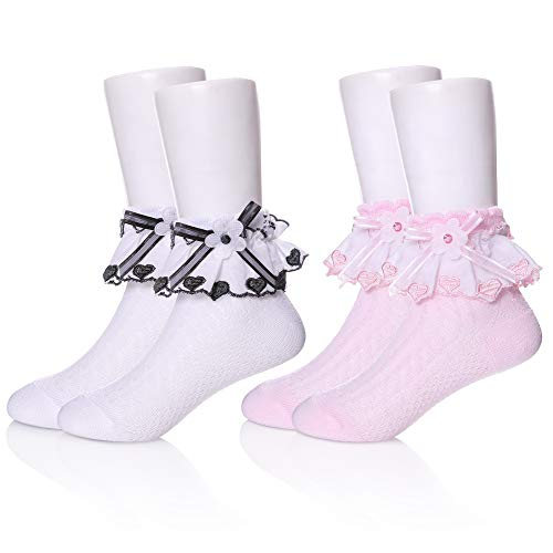 YEBING Girls Ruffle Lack Socks 2 Pair Pretty Girls Princess Dress Socks with Lace and Ribbon (1-3 Year Old, 2 Pack White & Pink) ()