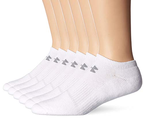 Under Armour Mens Charged Cotton 2.0 No Show Socks- (2 Pack (12 Pair) Large, White)