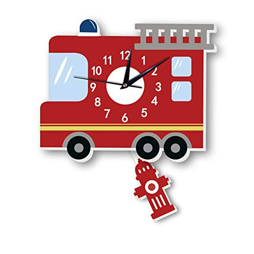 YOUEC Wall Clock Cartoon Mute Creative Children's Background Wall Decoration ECO-friendy PVC American Fire Engine Pendulum Clock,Red