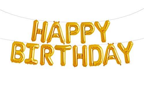 SGODA Happy Birthday Balloons Foil Letters Mylar Balloons Gold -