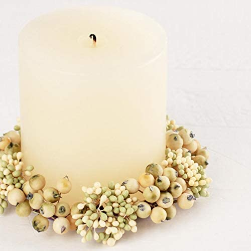 Holiday Displays Package of 2 Cream and Light Green Pip Berry Candle Rings for Home Decor Crafting /& Creating