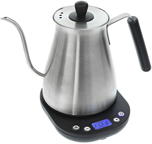Electric Gooseneck Kettle with Variable Temperature Control - 1L Electric Teapot Drip Kettle with Digital Base - Stainless Steel Coffee Kettle and Electric Pour Over Tea Pot
