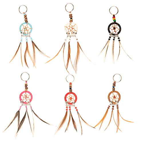 (6 Piece) Mini Dream Catcher Keychain Set Handmade Real Feathers Pendant Accessories for Women