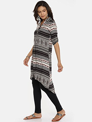 Kurti Casual Printed Women Women's Women Dress Multicoloured Kurta Aaboli Tunic for Blue1 Long x6wpnCxPq