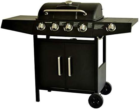 Barbecue à gaz 4 + 1 brûleur TUV Noir