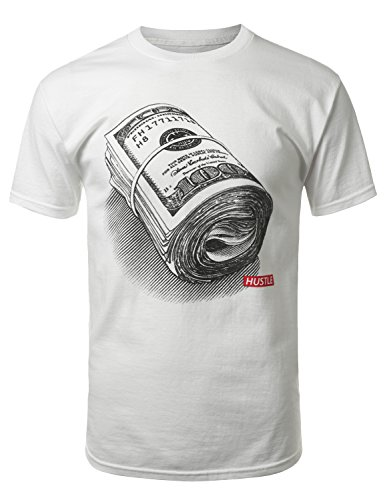 URBANCREWS Mens Hipster Hip Hop Roll of Money T-shirt WHITE SMALL