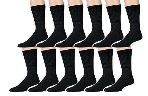 Yacht & Smith Merino Wool Socks for Hiking, Trail, Hunting, Winter, (6 Pairs Black, Womens 9-11)