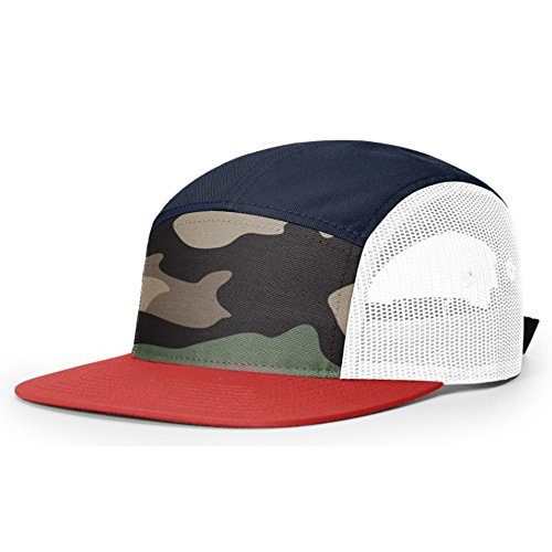 2040USA Richardson 5 Panel Trucker with Mesh Panels Adjustable Flatbill  Strapback (Biscuitt) at Amazon Men s Clothing store  e847a2703bd