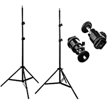 2 Packs 7ft Adjustable Light Stands with 2 Packs 1/4-inch Screw Tripod Mini Ball Head Hot Shoe Adapters for HTC Vive VR, Video and Product Photography