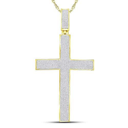 Jawa Jewelers 10kt Yellow Gold Mens Round Pave-Set Diamond Cross Crucifix Charm Pendant 2-1/4 Cttw
