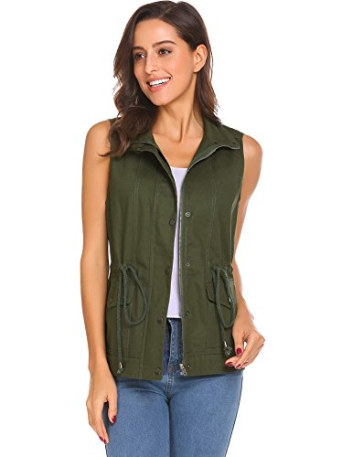 Diaper Women's Solid Button Inside The Rope Bag Pocket Can Be Removed Hooded Military Practical Vest(Army Green M) by Diaper