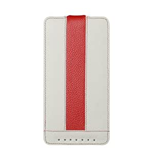 Melkco - Limited Edition Jacka Type Premium Leather Case for HTC One Max - (White/Red) - O2OMAXLCJM1WERDLC