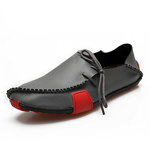 Grey Casual Boat 1286 Leather Loafers Shoes Moccasin Driving Genuine Men's Duoduo PqvwHaw