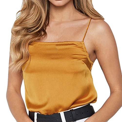Fashion Women Tank Tops Sexy Lustre Pure Color Chiffon Camisole Vest Blouse (L, Yellow) ()