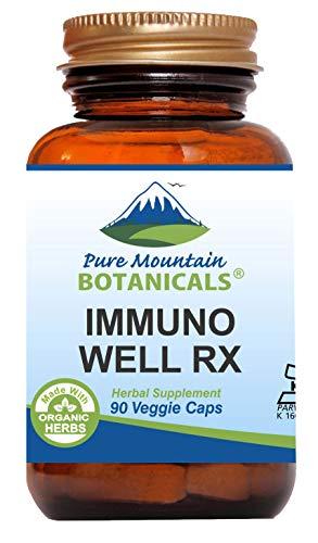 Immuno Well RX - 90 Kosher Caps Now with Organic Astragalus Echinacea Garlic Maitake Shiitake Mushroom Honeysuckle & Beta Glucan