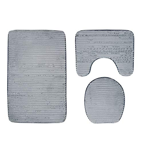 Pebbles Embossing - 3D Pebble Embossing 3 Piece Bathroom Set Mat Rug Non-Slip Contour Rug Toilet Lid Cover and Bath Mat (Color : Gray)