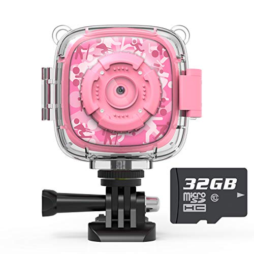 AKAMATE Kids Action Camera Waterproof Video Digital Children Cam 1080P HD Sports Camera Camcorder for Boys Girls, Build-in 3 Games, 32GB SD Card (Pink)
