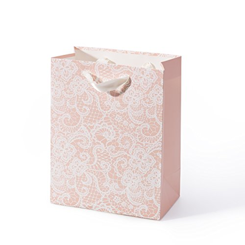 - WRAPAHOLIC Medium Size Gift Bags - Floral Lace Print with Glitter - Pink Shopping Bag for Wedding, Bridal, Baby Shower,Party Favors - 7