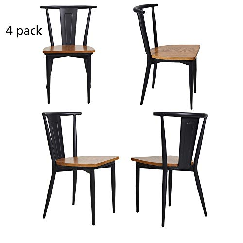 Dporticus Solid Wood Dining Chairs with Metal Legs, Commercial and Residential Use – Set of 4,Black