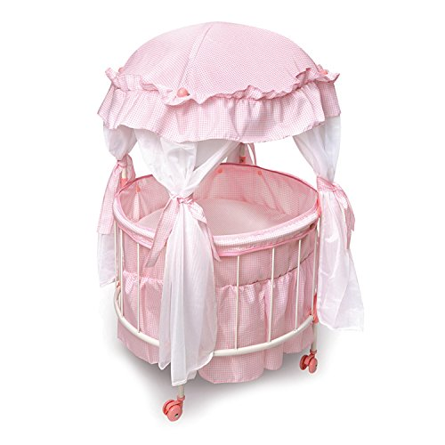 The Ashton-Drake Galleries Royal Baby Pink Domed Canopy Baby Doll Crib with Bedding