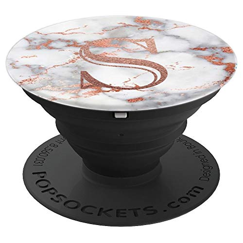 (Marble with Letters S Monogram Rose Gold Letter for Initial - PopSockets Grip and Stand for Phones and)
