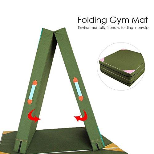iBaste_S Gymnastics Gym Folding Panel Exercise Aerobics Mats High Jump Sponge Non Slip Mat Stretching Yoga Mat Tumbling Workout Fitness Mat