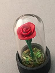 Beauty and the Beast Rose, Red Rose in a glass Dome, 1.5 Inch
