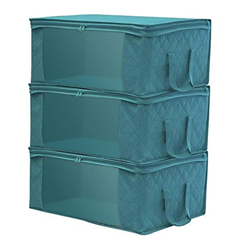 Vovotrade. 3 Pack Large Capacity Clothes Storage Bag Organizer Closet Organizer Foldable Capacity Storage Bins 37L Blue