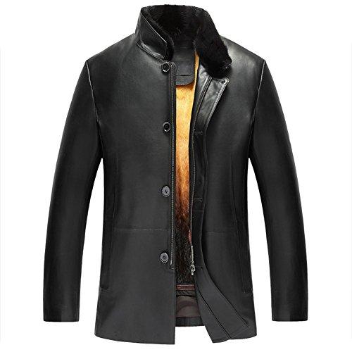 Men's Removable Mink Fur Lined Leather Coat Sheepskin Outwear Removable Fur Lined Parka Luxe Genuine Fur Coat for Men TJ16 (L, Black)