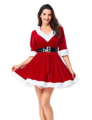 Colorful House Women's Sexy Mrs. Claus Costume, Plus Size V Neck Dresses(Medium) -